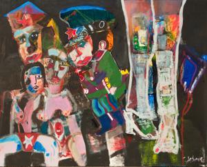 Collage auf Leinwand   Collage