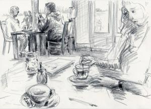 Urban sketching –  Menschen skizzieren | Aquarell, Zeichnen, Pastellkreide, Kohle, Bleistift