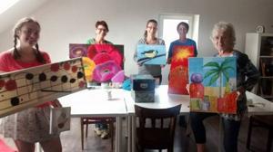 Zeit für mich- kreative Auszeit vom Alltag | Acryl, Zeichnen, Collage, Mischtechnik / Mixed Media