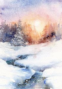 Weihnachtliches in Aquarell und Gouache | Aquarell, Mischtechnik / Mixed Media, Gouache